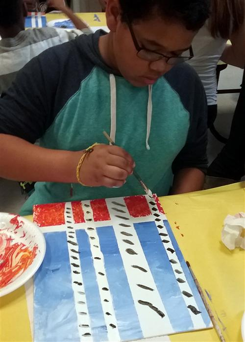 JAC student works on art project