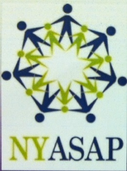 Photo of people holding hands in a circle as members of NYASAP