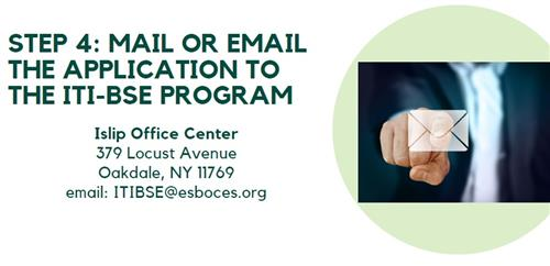 Man pushing envelope icon; email application to itibse@esboces.org